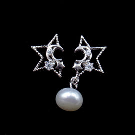 Round Freshwater Pearl Dangle Earrings / Simple Silver Pearl Stud Earrings